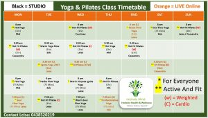 Intrinsic Mind Yoga and Pilates Timetable