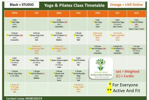Yoga and Pilates Timetable October 2020